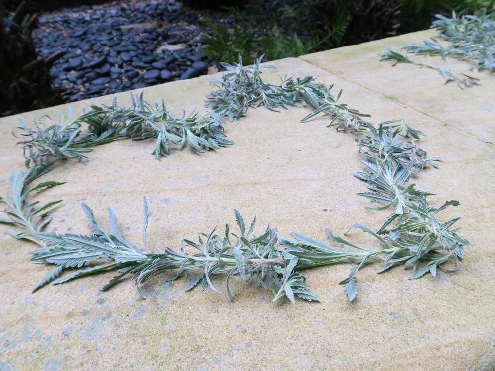Picture of a heart made of lavender leaves and branches